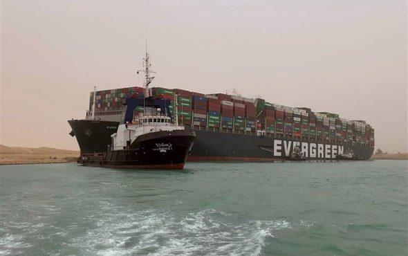 Suez Canal blockade – stranded huge gigantic cargo vessel